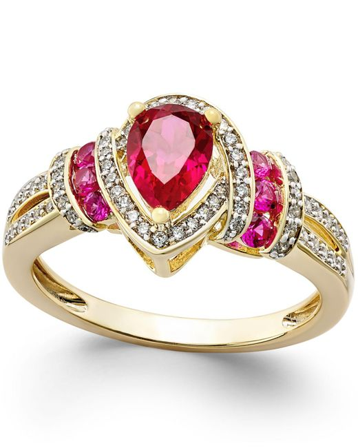 Macy's - Red Certified Ruby (1 Ct. T.w.) And Diamond (1/4 Ct. T.w.) Ring In 14k Gold - Lyst