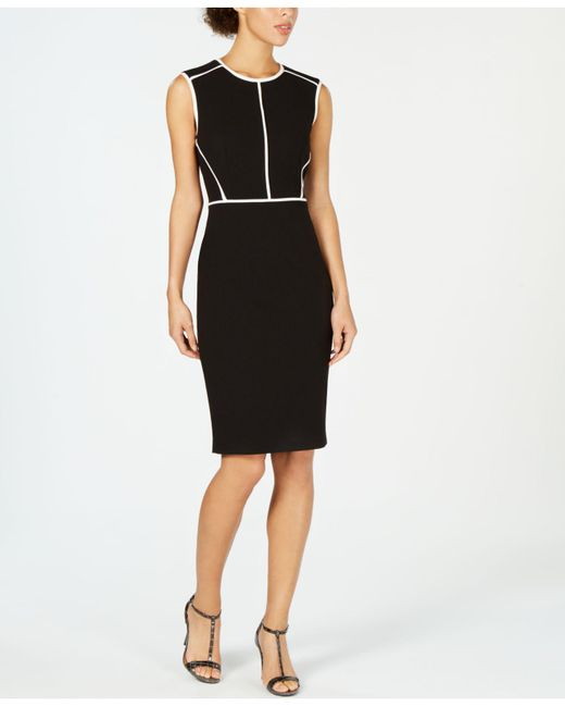 d6c8ee75 Lyst - Calvin Klein Petite Seamed Sheath Dress in Black - Save 11%