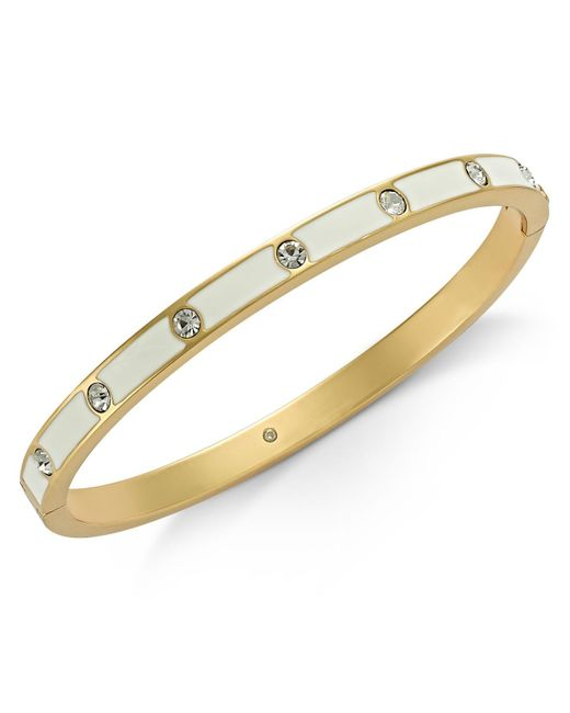 Kate Spade - Metallic Gold-tone Crystal Enamel Hinged Bangle Bracelet - Lyst