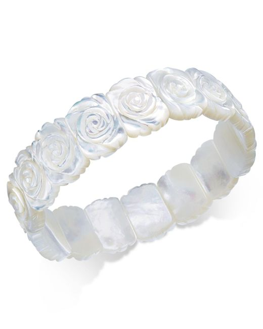 Macy's | Metallic Mother-of-pearl Rose Carved Stretch Bracelet | Lyst