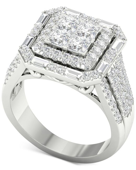 Macy's - Metallic Diamond Square Halo Engagement Ring (1-3/4 Ct. T.w.) In 14k White Gold - Lyst