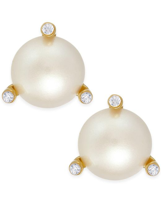 Kate Spade - Metallic Gold-tone Imitation Pearl And Crystal Stud Earrings - Lyst