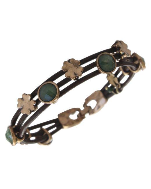 Lucky Brand   Metallic Bracelet, Gold-tone Jade Stone Woven Leather Bracelet   Lyst