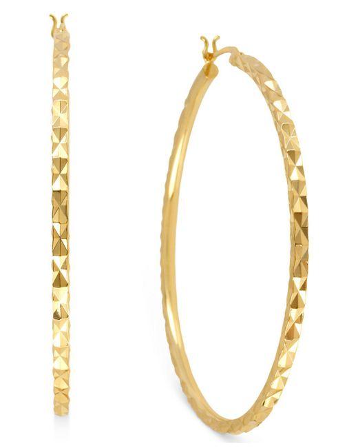 Hint Of Gold | Metallic 14k Gold-plated Brass Earrings, 50mm Textured Hoop Earrings | Lyst