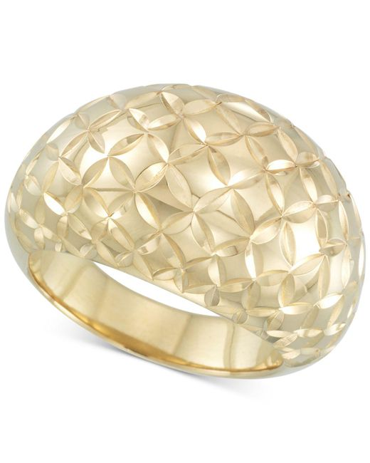 Signature Gold - Metallic Tm Textured Dome Ring In 14k Gold Over Resin - Lyst