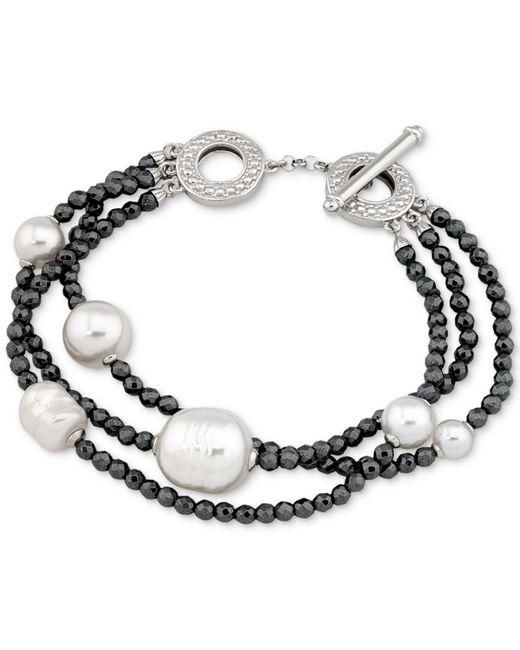 Majorica - Metallic Two-tone Sterling Silver Imitation Pearl Multi-row Bracelet - Lyst
