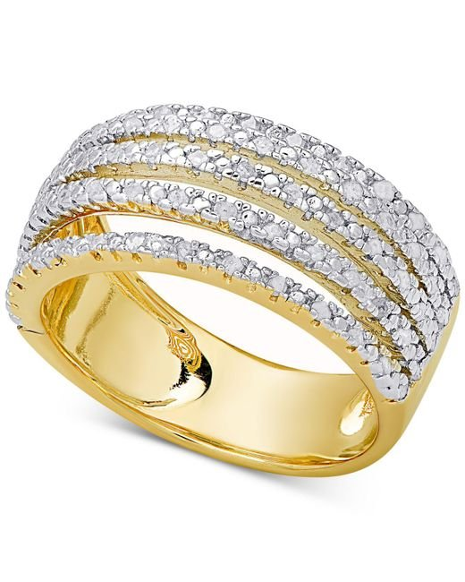 Macy's - Metallic Diamond Multi-band Statement Ring (1/2 Ct. T.w.) In Sterling Silver Or 18k Gold-plated Sterling Silver - Lyst