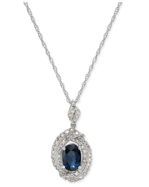 Macy's - Metallic Sapphire (1 Ct. T.w.) And Diamond (3/8 Ct. T.w.) Oval Pendant Necklace In 14k White Gold - Lyst