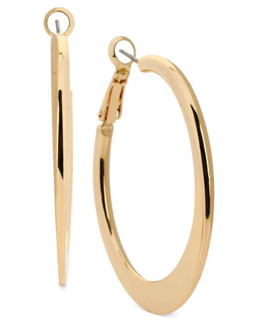 Kenneth Cole - Metallic Edge Hoop Earrings - Lyst