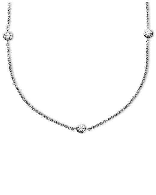 Arabella | Metallic Sterling Silver Necklace, Swarovski Zirconia 11 Station Necklace (4-9/10 Ct. T.w.) | Lyst