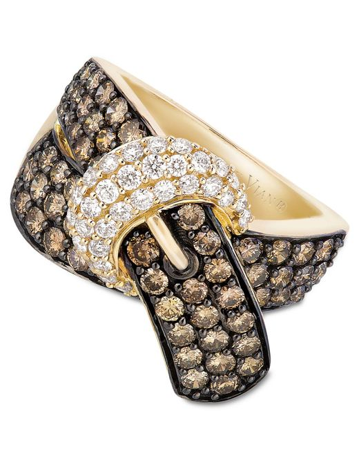 Le Vian   Brown Chocolate Diamond (2-1/6 Ct. T.w.) And White Diamond (3/8 Ct. T.w.) Buckle Ring In 14k Gold   Lyst