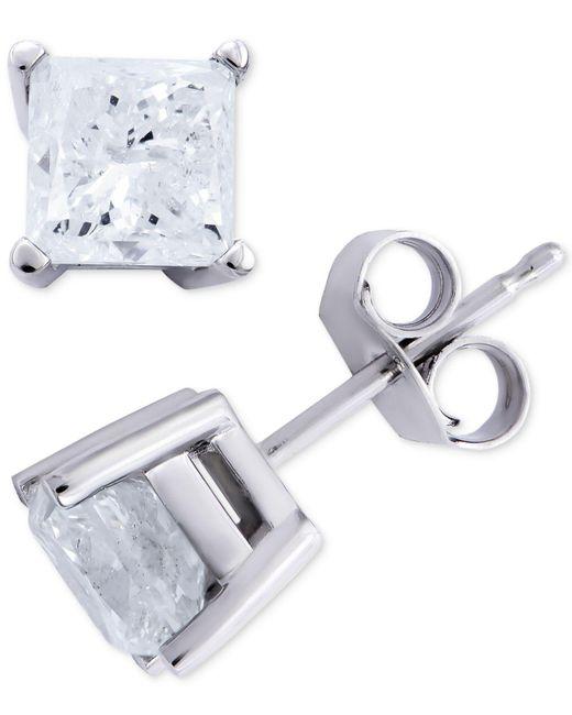 Macy's - Multicolor Certified Diamond Princess Stud Earrings (2 Ct. T.w.) In 14k White Gold - Lyst