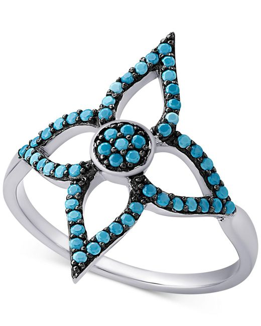 Macy's - Metallic Sterling Silver Manufactured Turquoise Flower Ring - Lyst