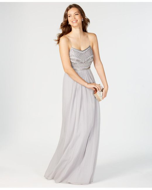 Lyst - Adrianna Papell Beaded Chiffon Gown in Metallic
