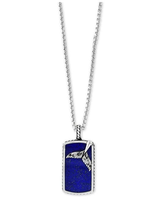 """Effy Collection - Metallic Lapis Lazuli Dolphin Tail Dog Tag 22"""" Pendant Necklace In Sterling Silver - Lyst"""