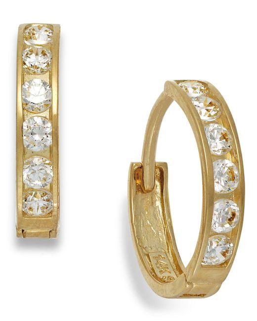 Macy's   Metallic Cubic Zirconia Hoop Earrings In 10k Gold   Lyst