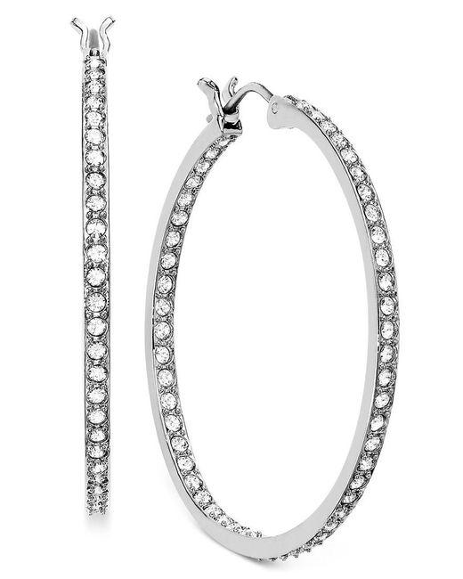 Swarovski | Metallic Earring, Rhodium-plated Crystal Somerset Hoop Earrings | Lyst