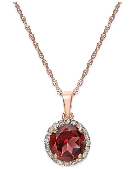 Macy's - Metallic Garnet (1-1/2 Ct. T.w.) And Diamond Accent Pendant Necklace In 14k Rose Gold - Lyst