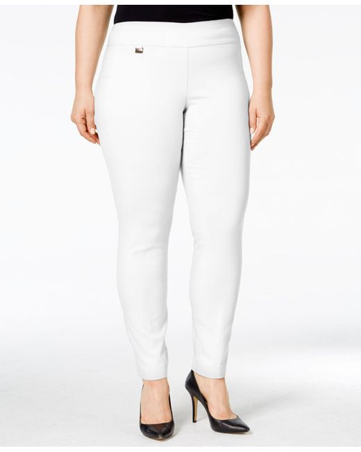 Alfani - White Plus Size Modern Skinny Pull-on Pants - Lyst
