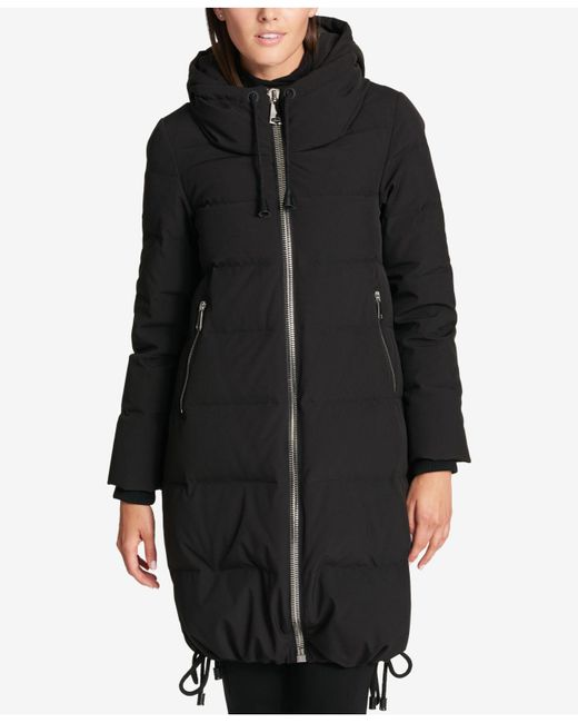 DKNY | Black Cinch-hem Down Puffer Coat | Lyst