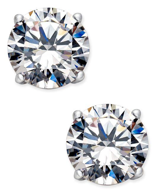 Danori   Blue Silver-tone Crystal Stud Earrings   Lyst