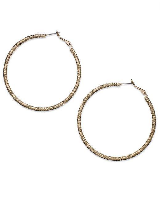 INC International Concepts   Metallic Gold-tone Large Textured Hoop Earrrings   Lyst
