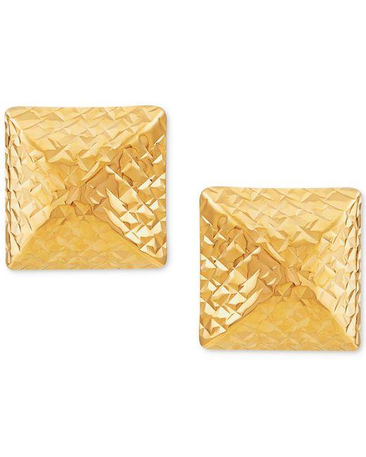 Macy's - Metallic Textured Pyramid Stud Earrings In 10k Gold - Lyst