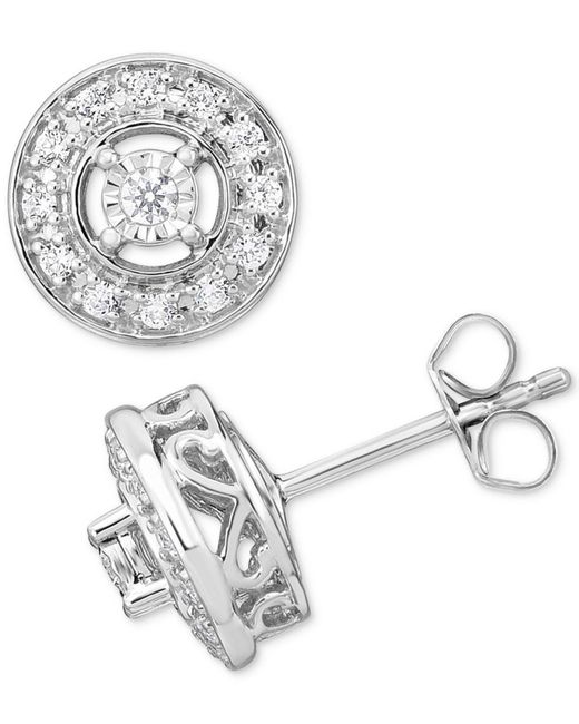 Macy's - Metallic Diamond Halo Stud Earrings (1/3 Ct. T.w.) In 10k Gold - Lyst
