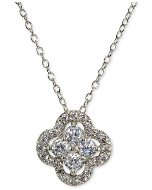 Giani Bernini - Metallic Cubic Zirconia Halo Cluster Pendant Necklace - Lyst