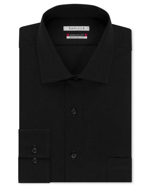 Van Heusen | Black Men's Classic-fit Wrinkle Free Flex Collar Solid Dress Shirt for Men | Lyst