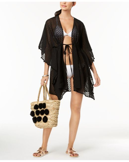 INC International Concepts - Black I.n.c. Sheer Jacquard Tassel Cover-up, Created For Macy's - Lyst