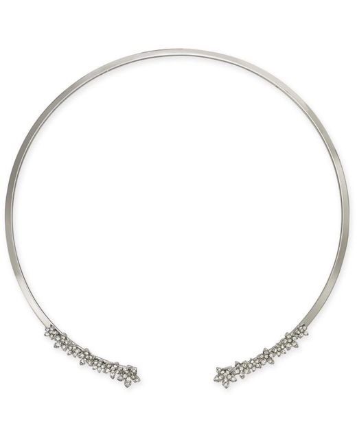 "INC International Concepts - Metallic I.n.c. International Concepts Silver-tone Crystal Cluster Flower 17"" Cuff Collar Necklace, Created For Macy's - Lyst"