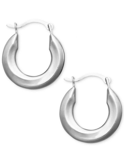 Macy's - White Small Polished Tube Hoop Earrings In 10k Gold - Lyst