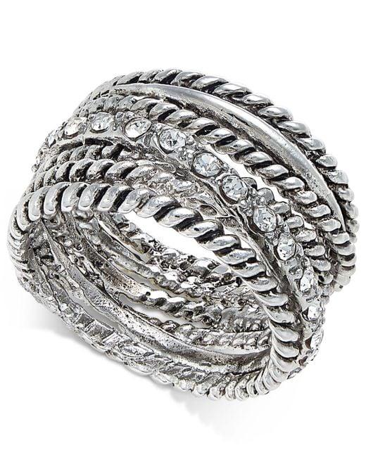 INC International Concepts - Metallic Silver-tone Textured Pavé Statement Ring - Lyst