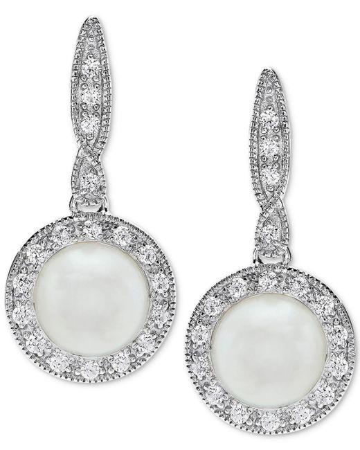 Macy's - Metallic Cultured Freshwater Pearl (7mm) & Swarovski Zirconia Drop Earrings In Sterling Silver - Lyst