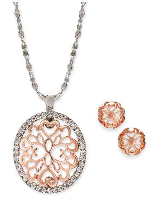 """Charter Club - Multicolor Two-tone Pavé Filigree Oval Pendant Necklace & Stud Earrings, 17"""" + 2"""" Extender, Created For Macy's - Lyst"""