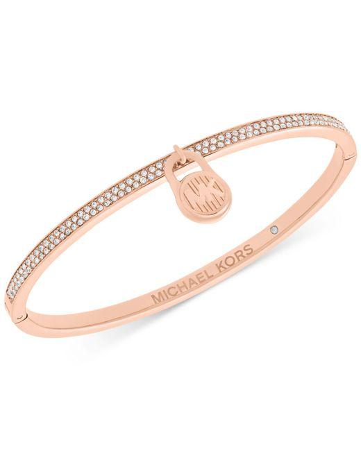 Michael Kors - Metallic Rose Gold-tone Pavé Logo Lock Bangle Bracelet - Lyst