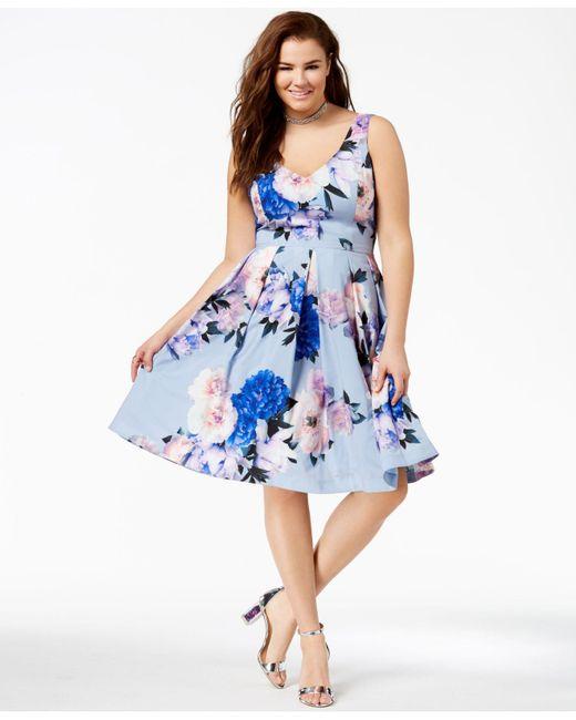 Womens Blue Plus Size Floral Print Flare Dress