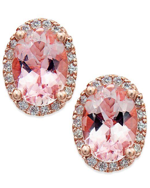 Macy's   Pink Morganite (1-1/3 Ct. T.w.) And Diamond (1/8 Ct. T.w.) Stud Earrings In 14k Rose Gold   Lyst