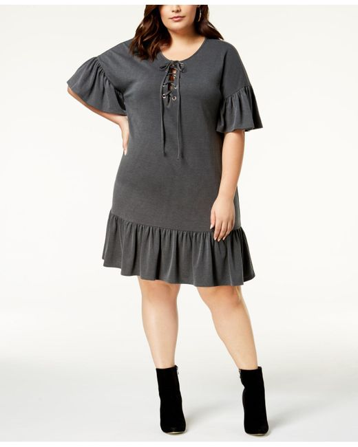 Lyst Soprano Trendy Plus Size Lace Up Shift Dress In Black