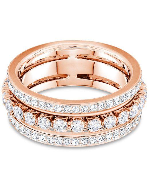 Swarovski - Multicolor Crystal Triple-row Ring - Lyst