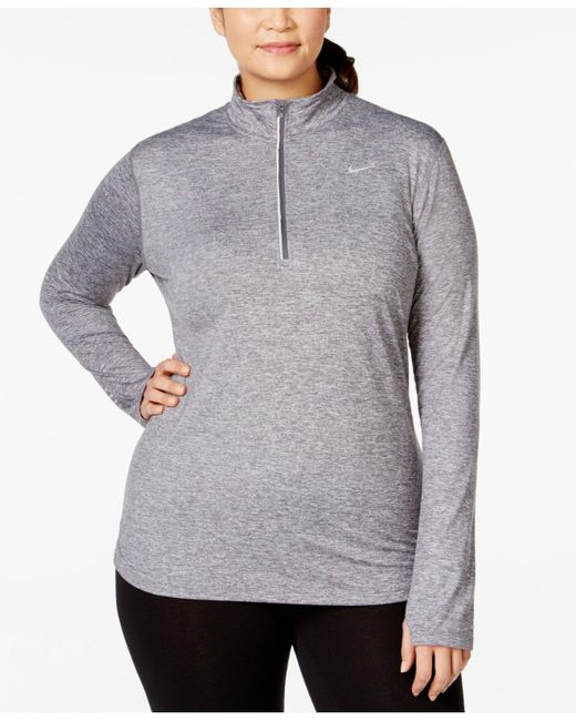 Nike | Gray Plus Size Top, Element Long-sleeve Dri-fit Half-zip | Lyst