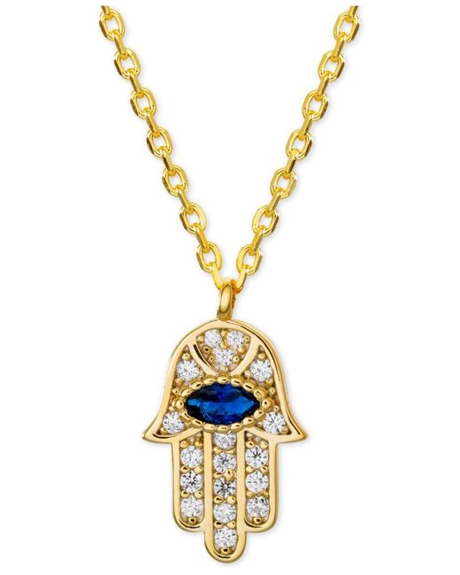 """Giani Bernini - Metallic Cubic Zirconia Hamsa Hand Pendant Necklace In 18k Gold-plated Sterling Silver, 16"""" + 2"""" Extender - Lyst"""