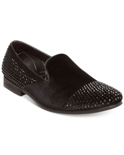 Steve Madden | Black Men's Clarity Studded Smoking Loafers for Men | Lyst