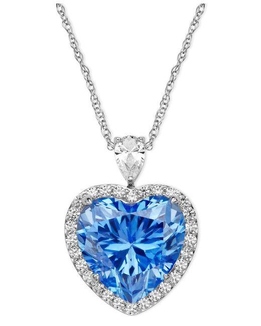 Arabella | Sterling Silver Necklace, Blue And White Swarovski Zirconia Heart Pendant (19-5/8 Ct. T.w.) | Lyst