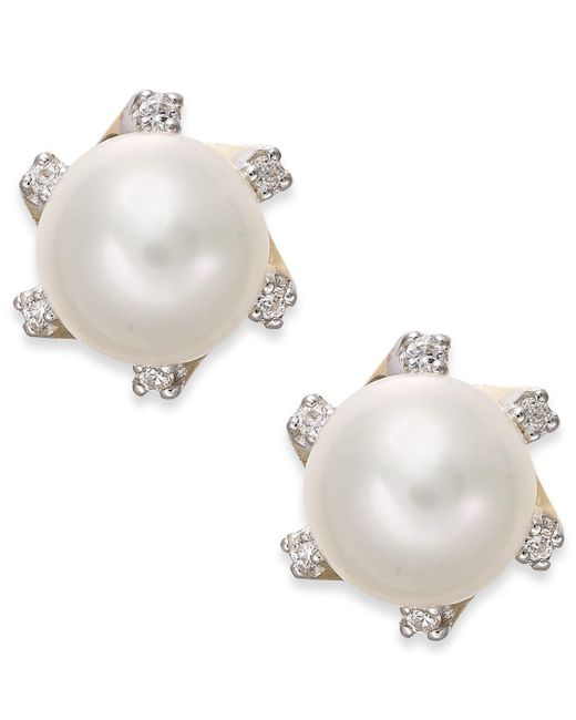 Macy's - Yellow Cultured Freshwater Pearl (7mm) And Diamond Accent Stud Earrings In 14k Gold - Lyst