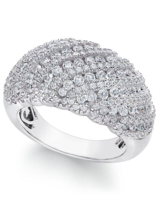 Arabella - Metallic Swarovski Zirconia Dome Cluster Statement Ring In Sterling Silver - Lyst