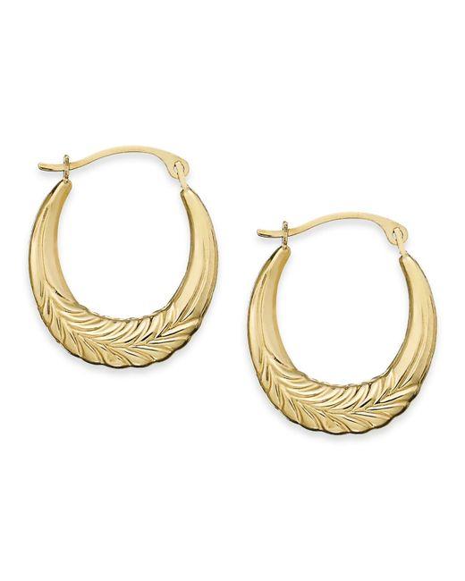 Macy's | Metallic 10k Gold Earrings, Chevron Hoop Earrings | Lyst