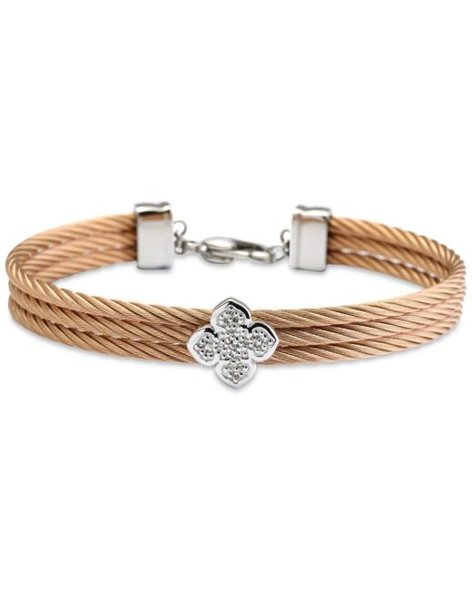 Charriol - Metallic Le Fleur Silver Bangle With White Topaz In Stainless Steel And Rose Gold - Lyst