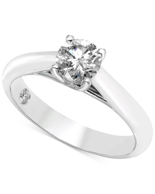 Macy's | Diamond Solitaire Engagement Ring (3/4 Ct. T.w.) In 14k White Gold | Lyst